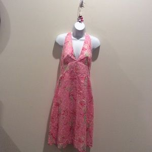 LILLY PULITZER COTTON HALTER DRESS SIZE 4 EUC